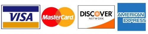 Amex, Mastercard, Discover, Visa