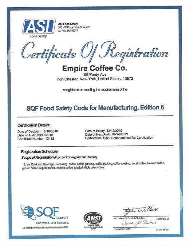 Empire Coffee 2018 SQF Certificate